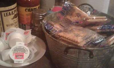 The typical butter (usually margarine) & crackers at a Cajun restaurant