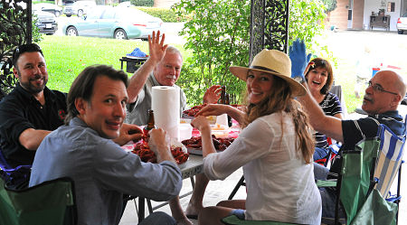 Crawfish boil at my cousin's house - Easter 2015 (2 of my cousins are also in the photo from the early 1980's)
