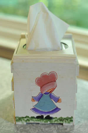 A tissue holder we painted in classes with Mrs. Pearl