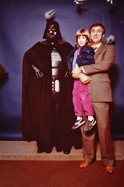 Darth Vader, me (Desi) and my father in his business suit + cowboy boots