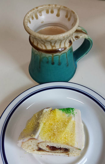 King Cake for breakfast - why not? This was a slice of the king cake I made this past Mardi Gras season.