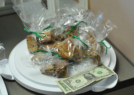 The bake sale ended up beginning early in the day with co-workers buying items and leaving money via the honor system