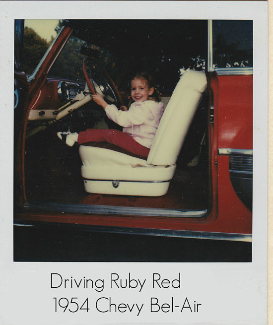 Desiree driving Ruby Red - the family's 1952 Chevy Bel-Air