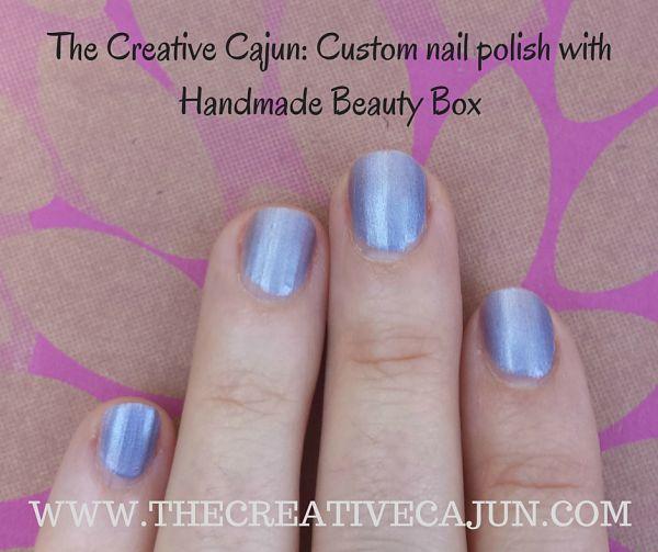 My nails polished with my custom pale purple nail polish